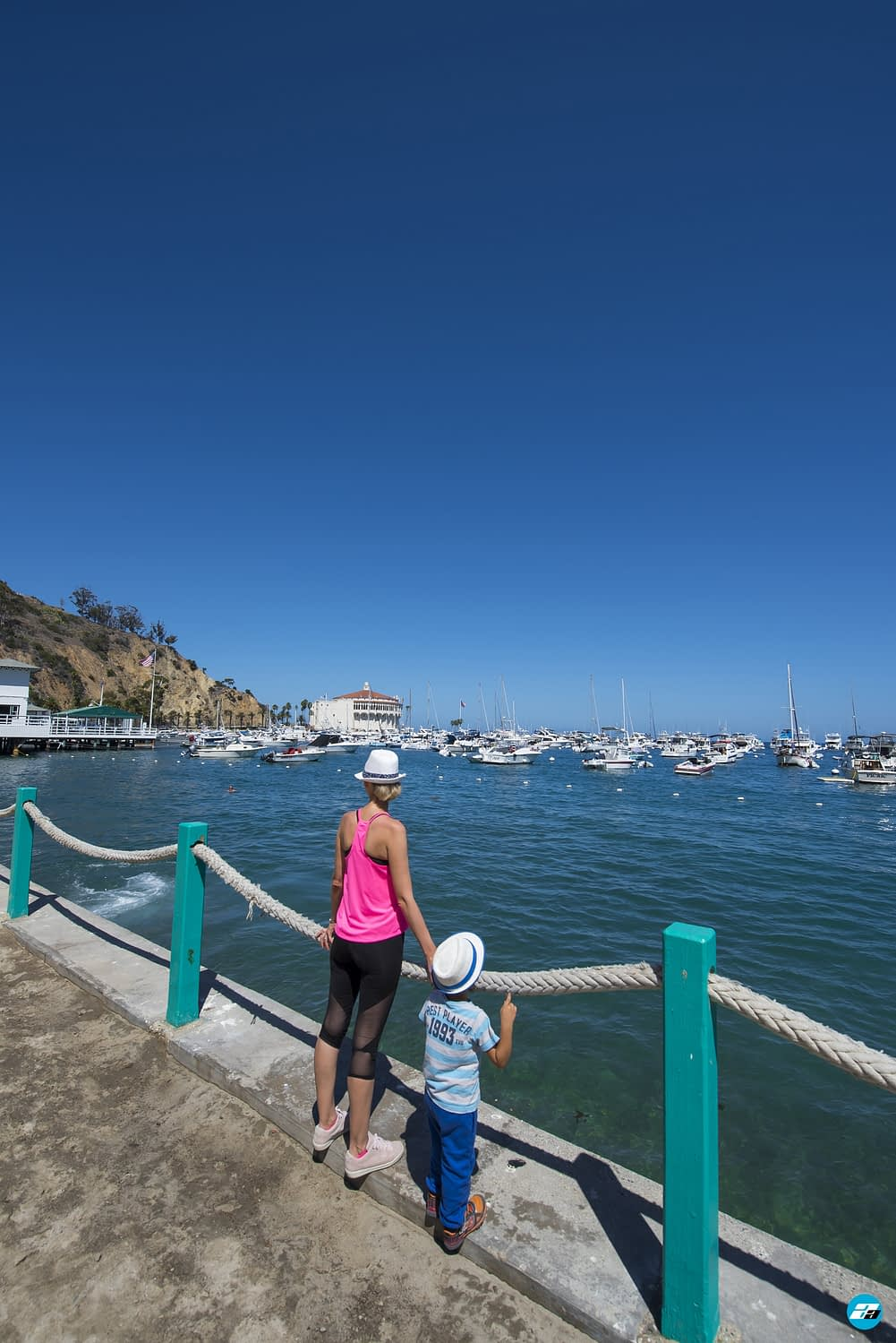 Catalina Island, Chanel Islands National Park, California, Casino View. Pier View. Mother and Son. Family.