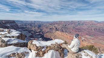 Grand Canyon National Park, Arizona, USA. Canyon View. Explorer. Winter Season. Arizona Attraction & Travel. Canyon Snow.