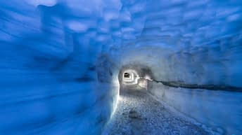 Iceland Travel, Ring Road, Langjokull, Iceland's second largest glacier. Into the glacier trip / adventure. Inside the glacier tunnel.