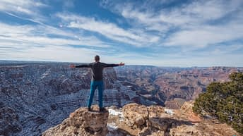 Grand Canyon National Park, Arizona, USA. Canyon View. Explorer. Winter Season. Arizona Attraction & Travel. Canyon Snow. Traveler.