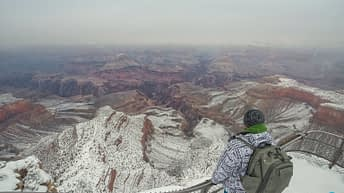 Grand Canyon National Park, Arizona, USA. Canyon View. Explorer. Winter Season. Arizona Attraction & Travel. Canyon Snow. Fog & Mist.
