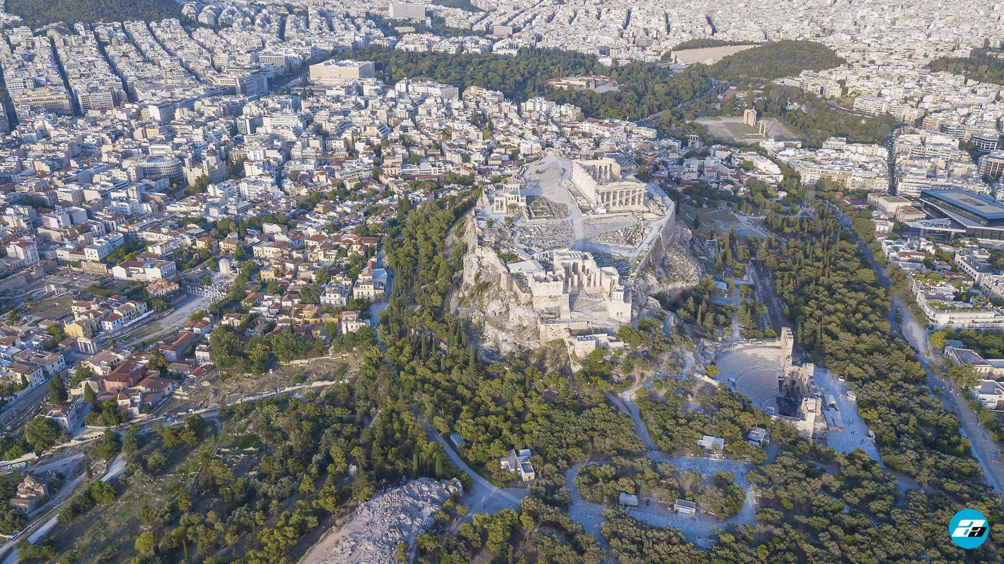 The Pantheon From Above. Aerial Photo. Athens, Greece.