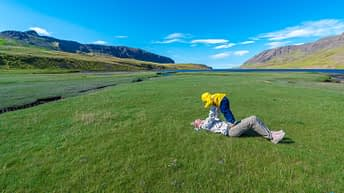 Iceland Travel, Ring Road, Green Turf. Mother and Son.