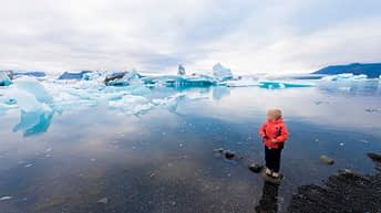 Iceland Travel, Ring Road, Jökulsárlón / Glacier Lagoon. Young Explorer. Child Traveler.