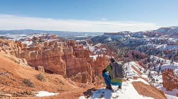 Bryce Canyon National Park, Utah, Arizona. View Point. Hiker. Explorer