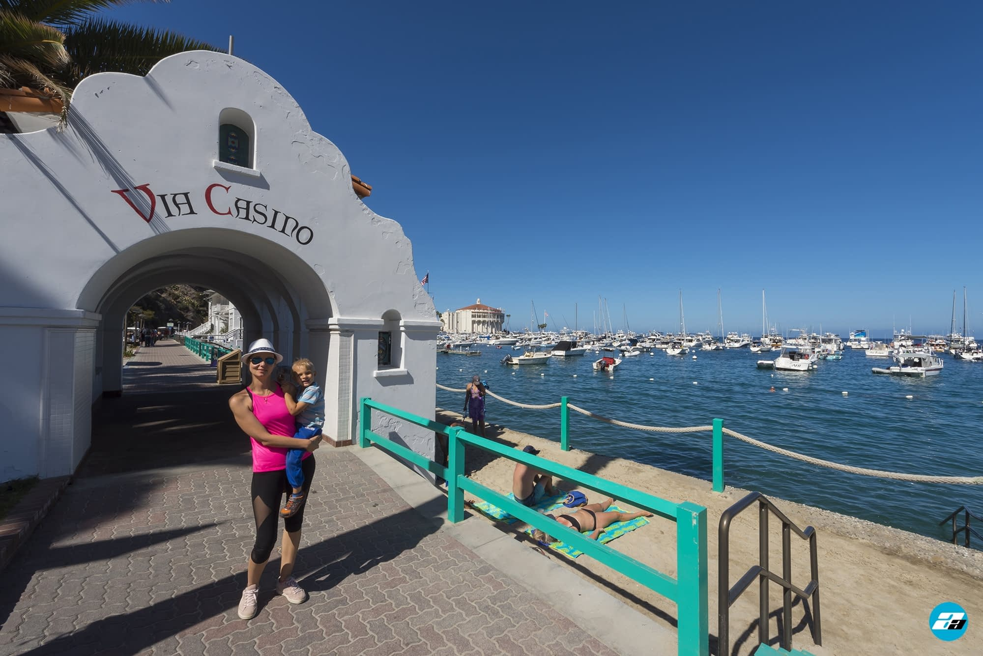 Catalina Island, Chanel Islands National Park, California, Casino View. Pier View. Small Beach. Mother and son. Family.