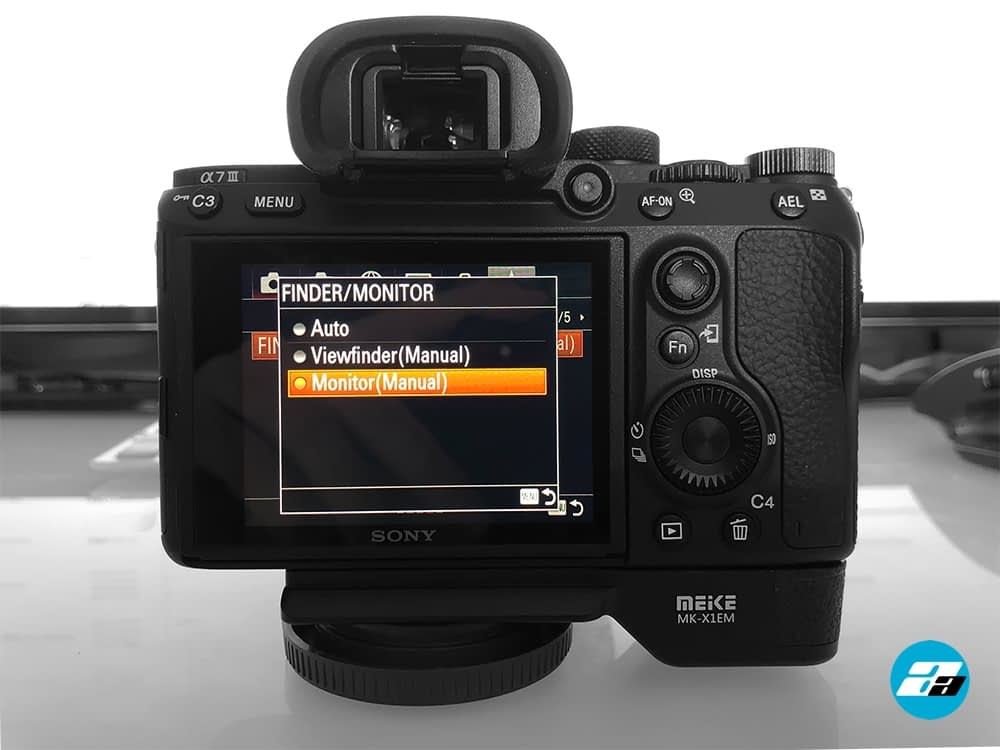 Sony A7III Finder/Monitor menu