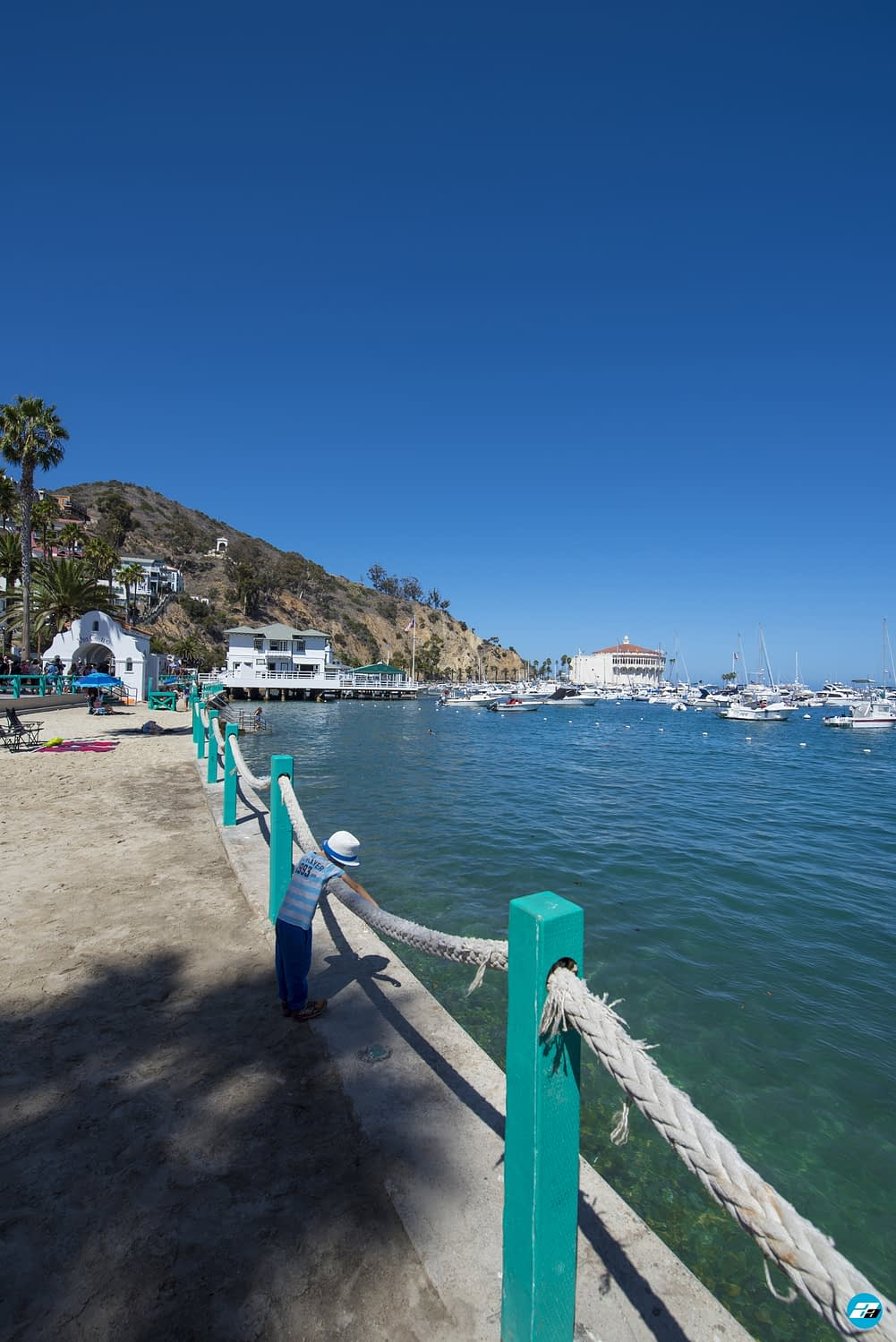 Catalina Island, Chanel Islands National Park, California, Casino View. Pier View. Small Beach. Child Playing.