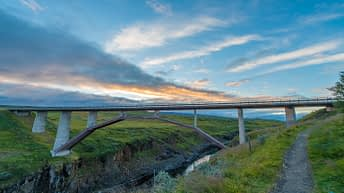 Iceland Travel, Ring Road. Bridge. Sunset.