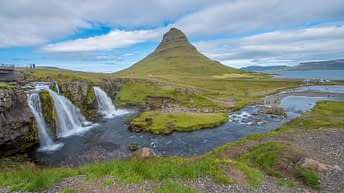Iceland Travel, Ring Road, Kirkjufell Mountain, Grundarfjördur. Waterfall.