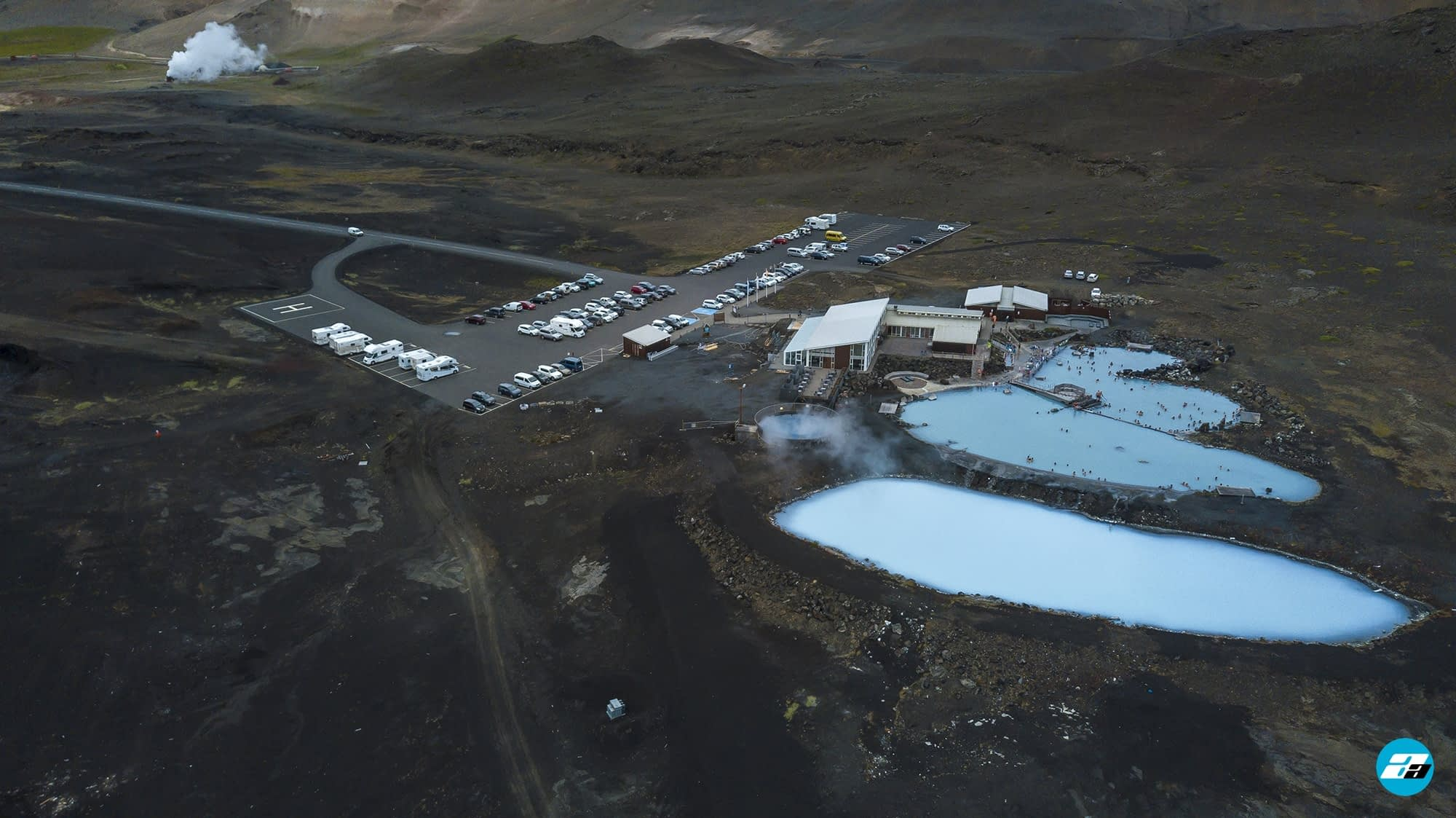 Iceland Travel, Ring Road, Geothermal Spas. Aerial Photo