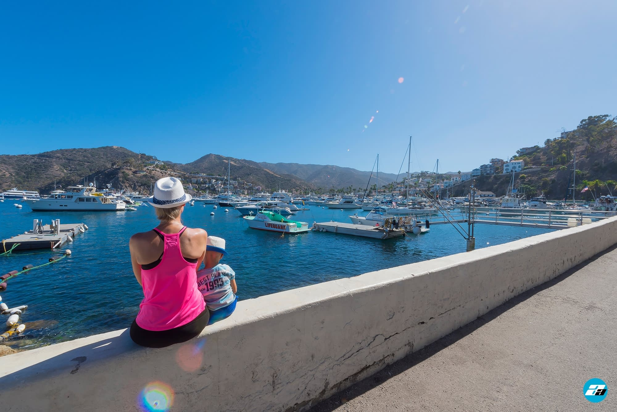 Catalina Island, Chanel Islands National Park, California, Pier View. Boats In Water.
