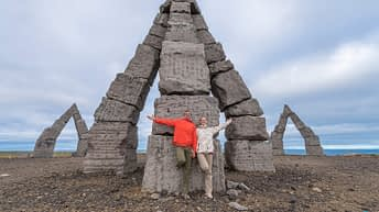 Iceland Travel, Ring Road, The Arctic Henge, Raufarhöfn. Family. Couple. Together.